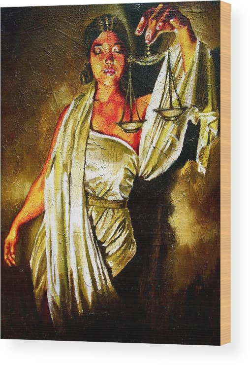 Law Art Wood Print featuring the painting Lady Justice Sepia by Laura Pierre-Louis