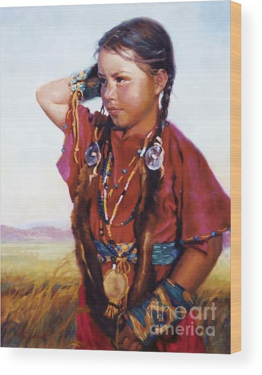 Indian Wood Print featuring the painting Little American Beauty II by Jean Hildebrant