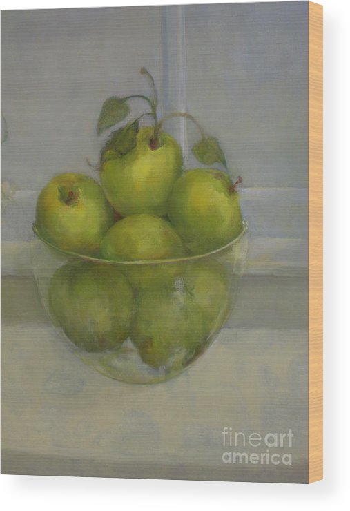 Green Apples Wood Print featuring the painting Little Green Apples     copyrighted by Kathleen Hoekstra