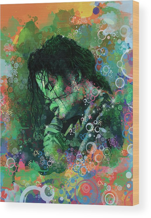 Michael Jackson Wood Print featuring the painting Michael Jackson 15 by Bekim M