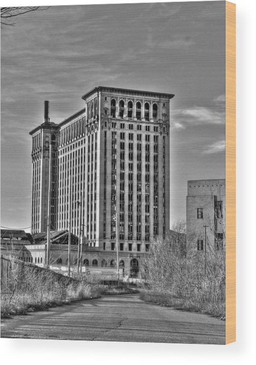 Michigan Central Wood Print featuring the photograph Michigan Central Station by Nicholas Grunas