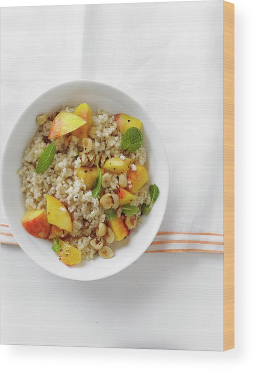 Temptation Wood Print featuring the photograph Minted Bulgur And Peach Salad by Iain Bagwell