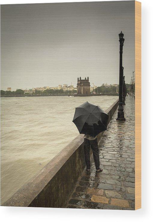 People Wood Print featuring the photograph Monsoon In Mumbai by Frank Bunnik