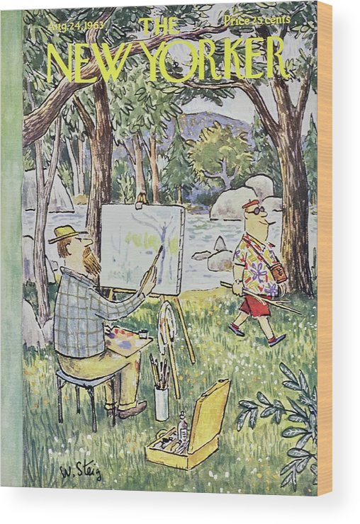 Illustration Wood Print featuring the painting New Yorker August 24th 1963 by William Steig
