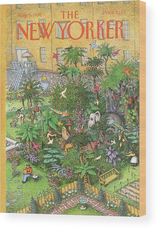 An Urban Garden Of Eden Wood Print featuring the painting New Yorker August 5th, 1991 by John O'Brien
