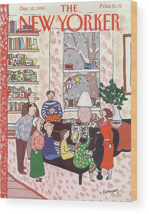(a Family Gathers Around A Piano As They Sing Christmas Carols.) Entertainment Wood Print featuring the painting New Yorker December 10th, 1990 by Devera Ehrenberg