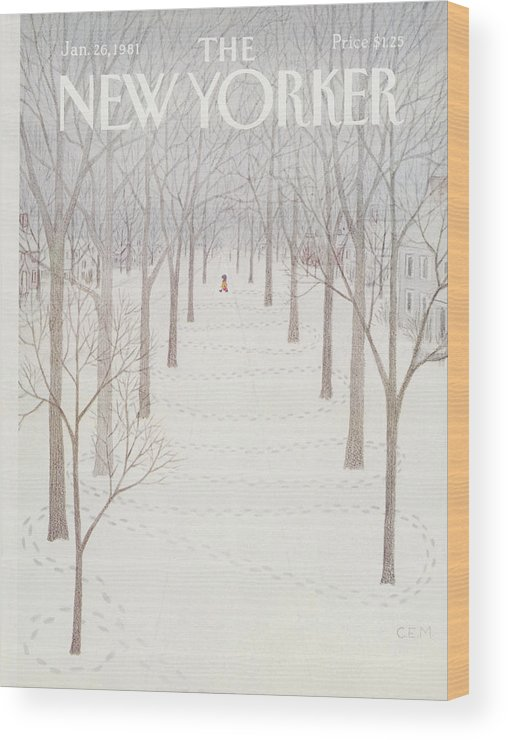 Season Wood Print featuring the painting New Yorker January 26th, 1981 by Charles E Martin
