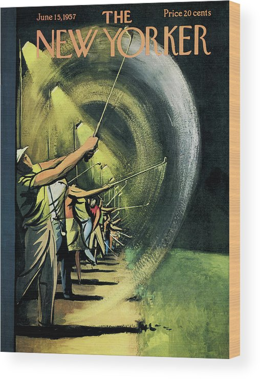Golf Wood Print featuring the painting New Yorker June 15th, 1957 by Arthur Getz