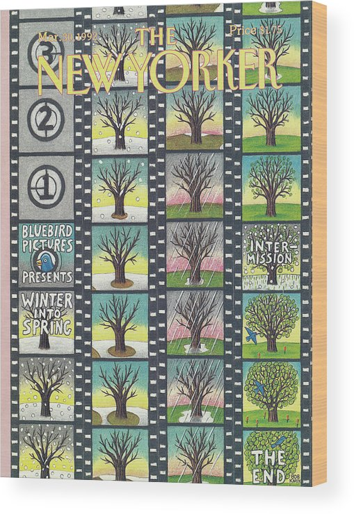 Film Strip Wood Print featuring the painting New Yorker March 30th, 1992 by Bob Knox