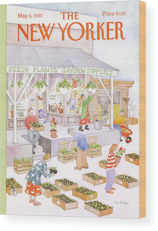 Garden Wood Print featuring the painting New Yorker May 6th, 1985 by Anne Burgess