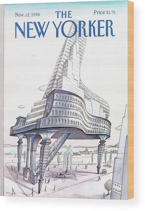 Business Wood Print featuring the painting New Yorker November 12th, 1990 by Paul Degen