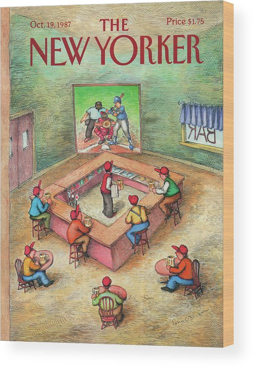 Leisure Wood Print featuring the painting New Yorker October 19th, 1987 by John O'Brien