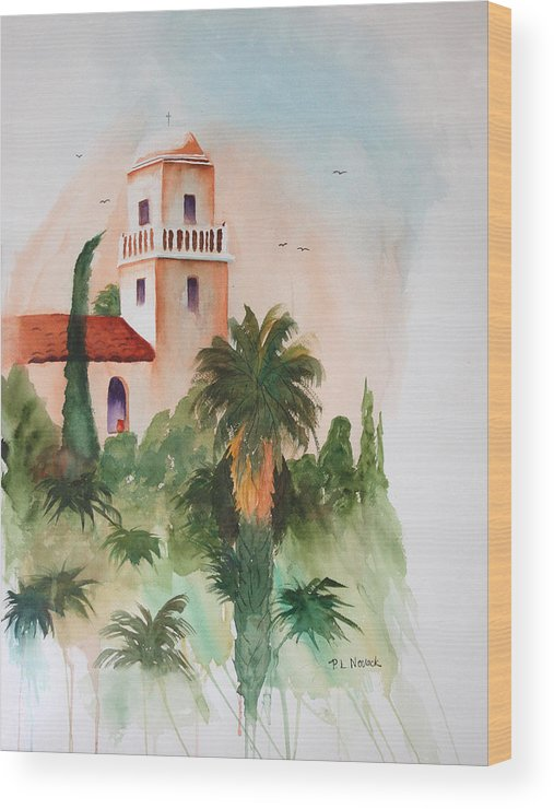 Mission Wood Print featuring the painting Presidio Park San Diego by Patricia Novack