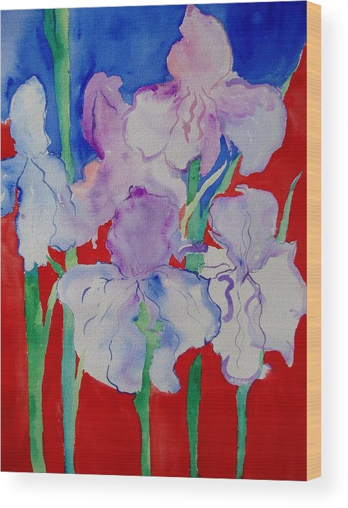 Bold Wood Print featuring the painting Royal Iris by Phoenix Simpson