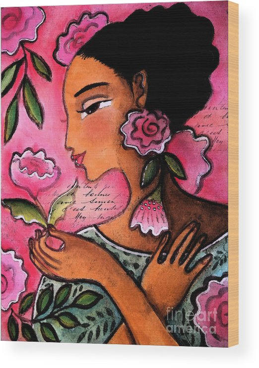 Figurative Wood Print featuring the mixed media She Loves Flowers by Elaine Jackson