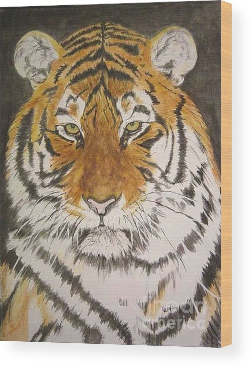 Siberian Tiger Wood Print featuring the painting Siberian Tiger by Regan J Smith