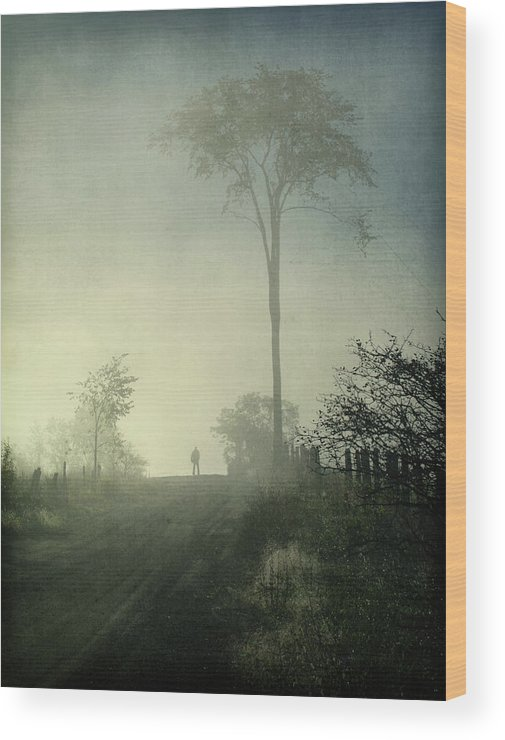 Tranquility Wood Print featuring the photograph Silhouette Of A Man In Fog by Francois Dion