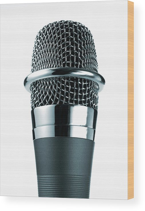 White Background Wood Print featuring the photograph Studio Shot Of Microphone On White by David Arky