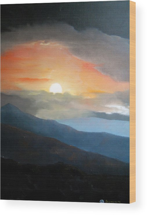Oil Wood Print featuring the painting The highest point by Sergey Bezhinets