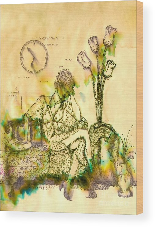 Woman Wood Print featuring the drawing The Hold Up sepia tone by Angelique Bowman