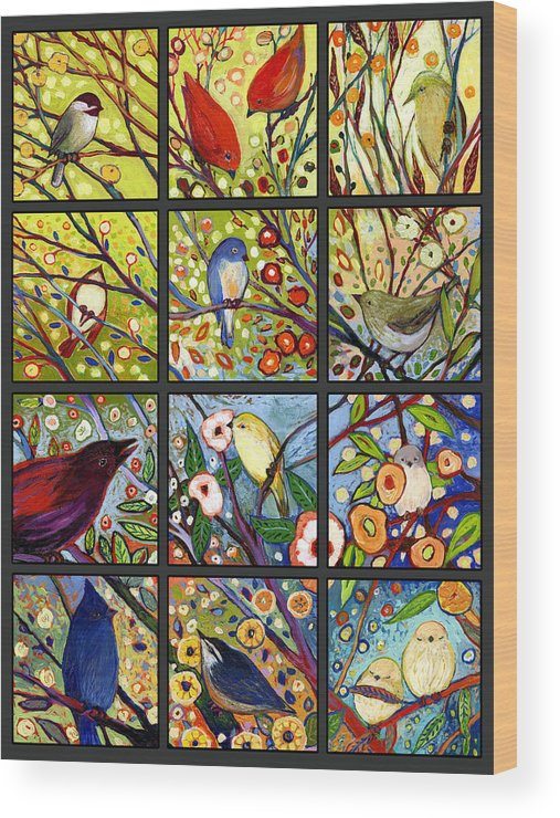 Bird Wood Print featuring the painting The NeverEnding Story Set of 12 a2 by Jennifer Lommers