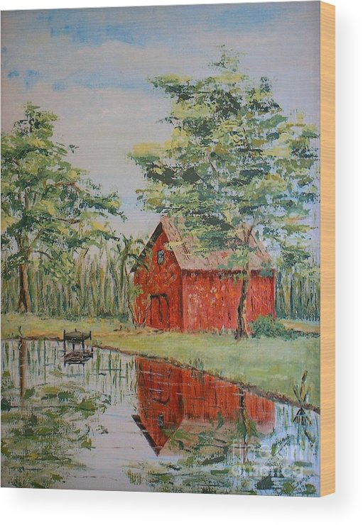 Red Shed Building Wood Print featuring the painting The Shed - SOLD by Judith Espinoza