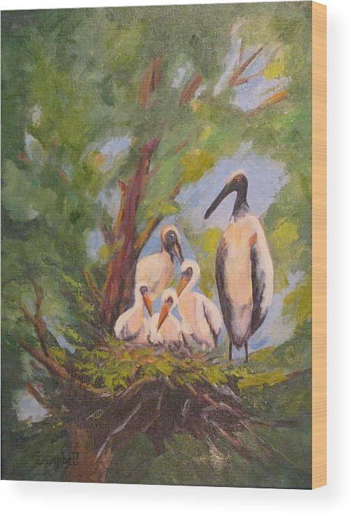 American Stork Wood Print featuring the painting The Stork Brought Them by Cecelia Campbell