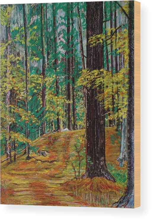 New Hampshire Wood Print featuring the pastel Trail At Wason Pond by Sean Connolly