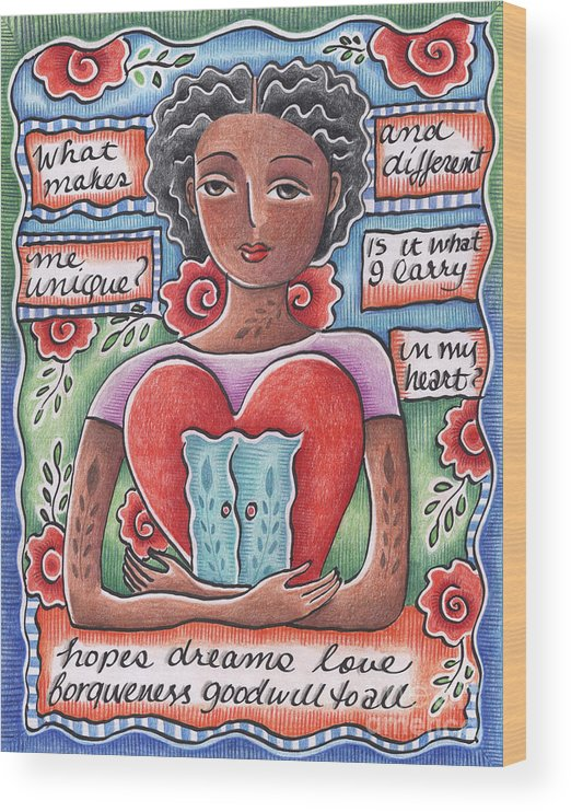 Heart Wood Print featuring the mixed media Unique by Elaine Jackson