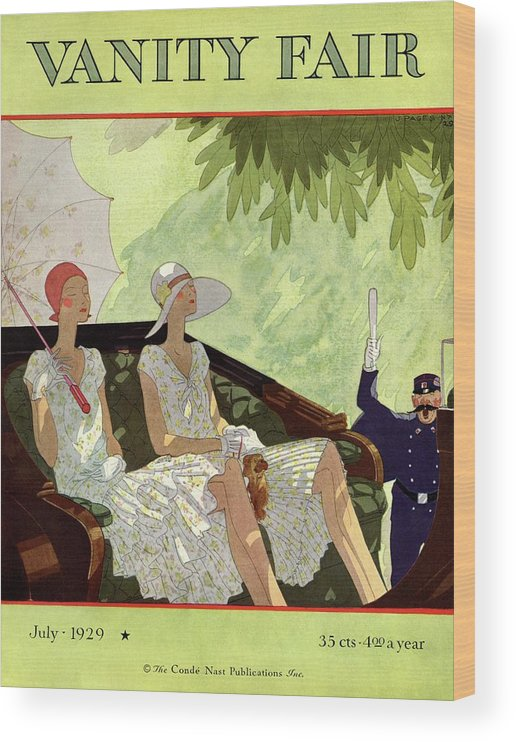 Illustration Wood Print featuring the photograph Vanity Fair Cover Featuring Two Women Sitting by Jean Pages