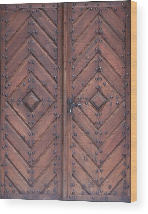 Material Wood Print featuring the photograph Vintage Wooden Brown Door Close-up by Bogdan Khmelnytskyi