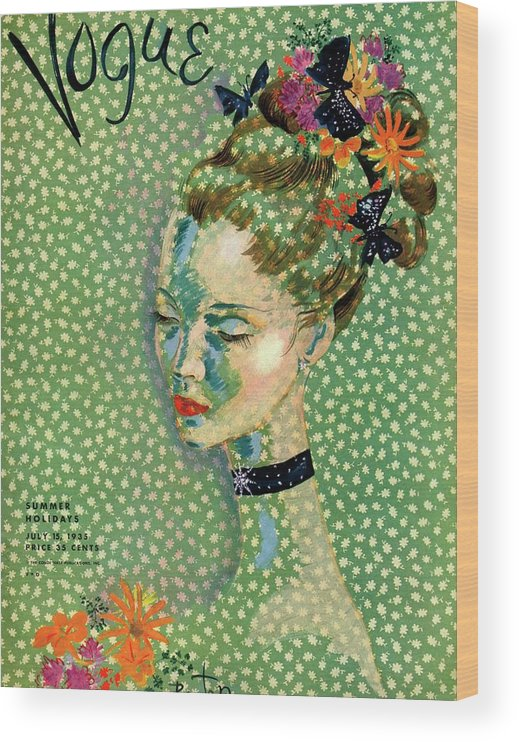 Illustration Wood Print featuring the photograph Vogue Magazine Cover Featuring A Woman by Cecil Beaton