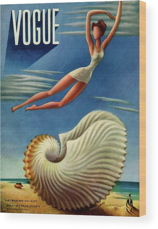 Illustration Wood Print featuring the photograph Vogue Magazine Cover Featuring A Woman by Miguel Covarrubias