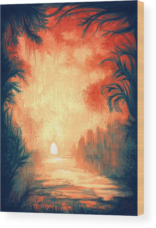 Outdoors Wood Print featuring the digital art Walk Away by Illustrations By Annemarie Rysz