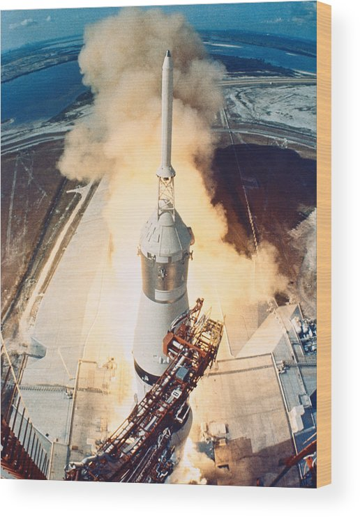 Vertical Wood Print featuring the photograph The Launch Of A Space Rocket by Stockbyte