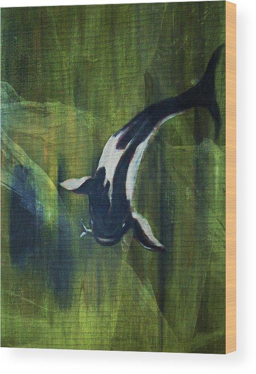 Koy Wood Print featuring the digital art Black and white koi II by Joseph Ferguson