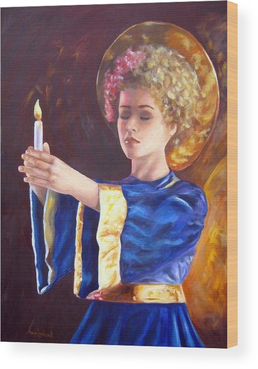 Portrait Wood Print featuring the painting Candlemass by Anne Kushnick