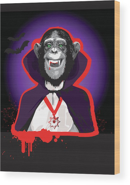 Vertical Wood Print featuring the digital art Chimpanzee In Dracula Costume by New Vision Technologies Inc