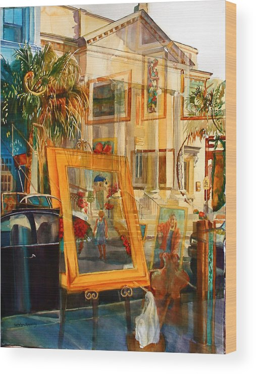 Reflections Wood Print featuring the painting Creations Paintings Pillars and Palmettos by Carolyn Epperly