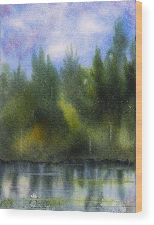 Lake Wood Print featuring the painting Lake Reflecting Trees by Debbie Homewood