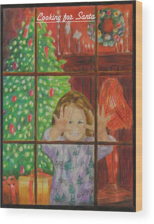Christmas Card Wood Print featuring the drawing Looking for Santa by Quwatha Valentine