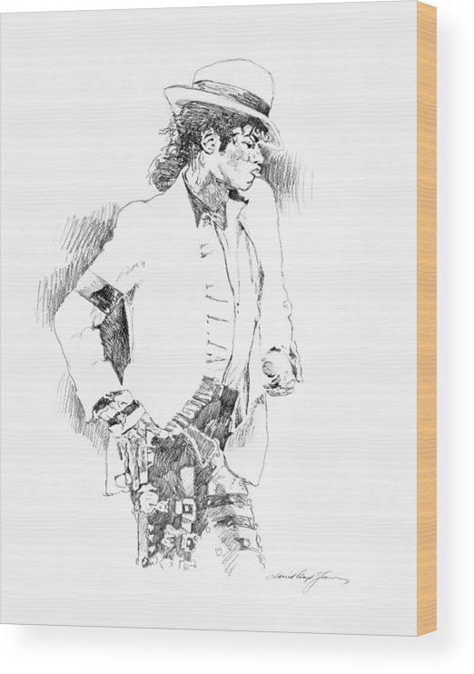 Michael Jackson Drawing Wood Print featuring the painting Michael Jackson Attitude by David Lloyd Glover