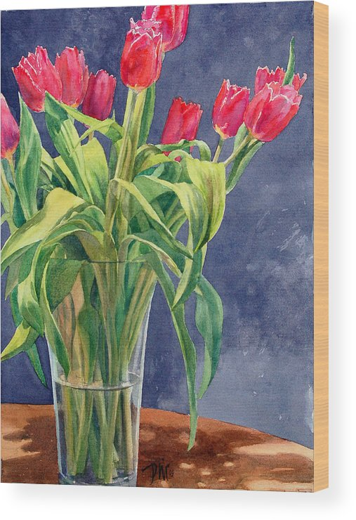 Peter Sit Watercolor Wood Print featuring the painting Red Tulips by Peter Sit