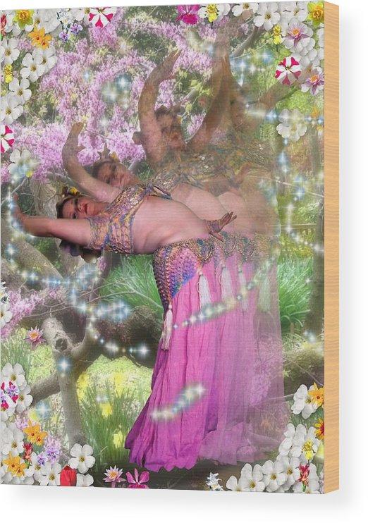 Flowers Wood Print featuring the digital art Spring Bend by Scarlett Royal
