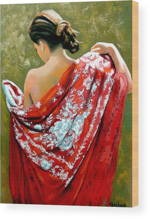 Red Wood Print featuring the painting aly by Jose Manuel Abraham