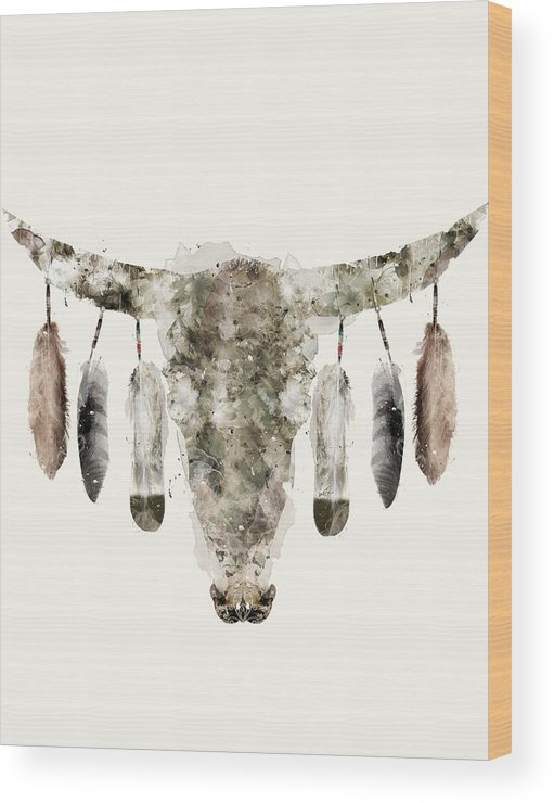 Cow Skull Wood Print featuring the painting Cow Skull by Bri Buckley
