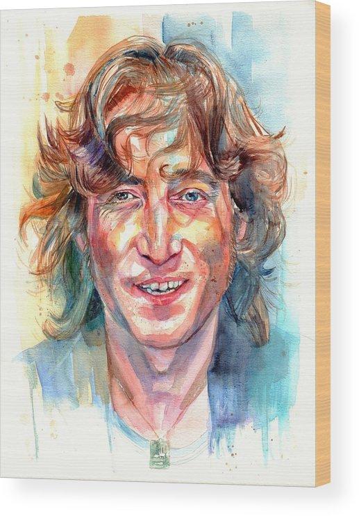 John Lennon Wood Print featuring the painting John Lennon portrait by Suzann Sines