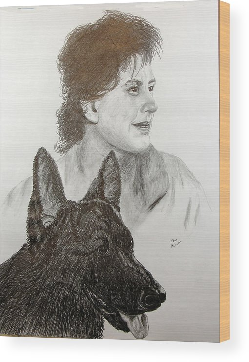 Pencil Wood Print featuring the drawing Kim and Saver by Stan Hamilton
