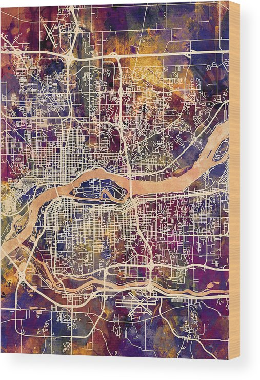 Street Map Wood Print featuring the digital art Quad Cities Street Map by Michael Tompsett