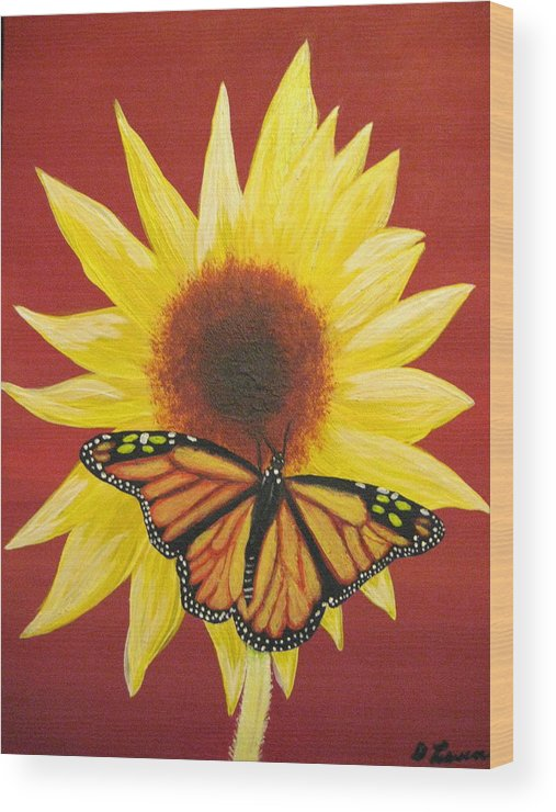 Sunflower Wood Print featuring the painting Sunflower Monarch by Debbie Levene